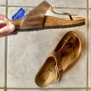 NWT Birkenstock 37 Gizeh Sandal Tobacco Brown